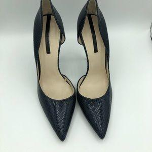 Zara Woman blue snake d'orsay heels
